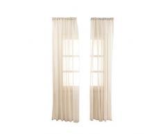 Baumwolle und Leinen Shiner Fenster Voile Vorhänge Feine Textur Vorhang für Schlafzimmer Wohnzimmer - 100X200cm (Beige)