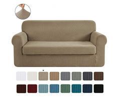 CHUN YI 2-Stück Jacquard Sofaüberwurf, Sofaüberzug, Sofahusse, Sofabezug für Sofa, Couch, Sessel, mehrere Farben (2-Sitzer, Sand)