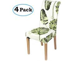 Homaxy Stretch Stuhlhussen Blumen Universal Hussen für Stuhl Esszimmer Waschbare Stuhlbezüge (4 Stück, Style 2)