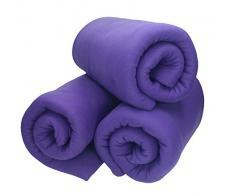 Betz 3 Stück Fleecedecke Kuscheldecke Wohndecke in Größe 130x170 cm Qualität 220 g/m Farbe lila
