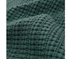 URBANARA Tagesdecke/Überwurf Anadia - 100% Reine Baumwolle, Decke/Bettüberwurf im strukturierten Jacquard (180 x 230 cm, Grün)