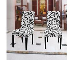 WANYI 4 Stück Stuhlhussen Stretch Stuhlbezug Elastisch Stuhlüberzug Moderne Husse Elasthan Stretchhusse Stretch-Stuhlbezug (Schwarz + Weiß)