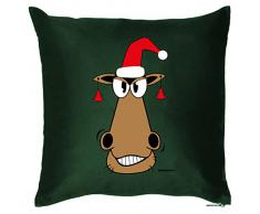 Rentier Gesicht auf Weihnachtskissen mit Füllung - Couchkissen als Weihnachtsdeko, Sitzkissen, Dekokissen