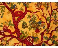 Tagesdecke, Design Baum des Lebens, King Size, Violett/Grün/Blau/Weiß/Rot/Orange orange