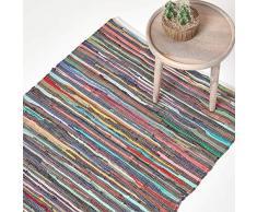 Homescapes Chindi Flickenteppich 60 x 90 cm aus 100% Recycelter Baumwolle - Fleckerlteppich Bunt