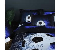 Stillshine Bettwäsche Bettbezug 3D Fußball Fussball Fußballer Jungen Bett Bezug Bezüge Garnitur Set Bettdecke Kissenbezug Single Double King Size (Fußball, 135x200cm)