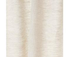 URBANARA Vorhang Alatri - 100% reiner Leinen, Natur/Weiß mit Chambray-Effekt und Tunnelzug - 140 x 245 cm, einzelner Schal. Gardine/ Leinengardine/ Leinenvorhang