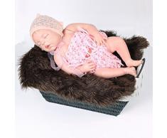 Baby Fotografie Quilt, Bekleidung Longra Neugeborene Baby Fotografie Stützen Faux Pelz Stuffe Hintergrund Baby Foto Weiche Decke (Coffee)