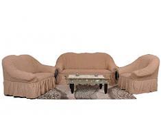 Stretch Sesselschoner, Sesselbezug, Sesselhusse aus Baumwolle & Polyester in ockerbraun. Sofaueberwurf / Sofabezug / Sofahusse / Elastisch Husse