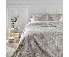 Set aus Tagesdecke und 2 Kissenbezügen - Große Größe - romantischer Stil - Farbe Beige und Weiß