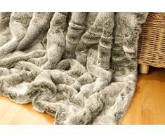 Wohnen & Accessoires Felldecke Grauwolf, Tagesdecke aus Fellimitat in 5 Größen als Kuscheldecke und auch als Sofa-Kissen (Felldecke 260x300cm)