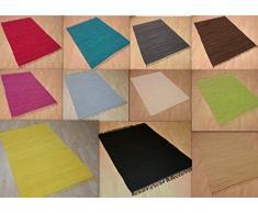 MB Warenhandel24 Handwebteppich Fleckerlteppich Flickenteppich einfarbig Uni 100% Baumwolle Handweb Teppich Fleckerl Waschbar NEU (ca. 60x110 cm, Natur)