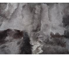 Echte Pelzdecke Felldecke Tagesdecke Lammfell graubraun / taupe 160x200cm PD-156