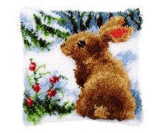Vervaco Kaninchen im Schnee Knüpfkissen mit Knüpfhaken, Baumwolle, Mehrfarbig, 40 x 40 x 1 cm
