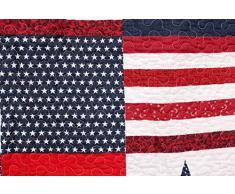 1001 Wohntraum 14J12 Quilt Bill 180 x 220 cm Stars n Stripes USA Sterne Plaid Tagesdecke Patchwork Shabby Decke