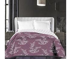 DecoKing 86872 Tagesdecke 220 x 240 cm violett lila creme ecru Bettüberwurf zweiseitig pflegeleicht Blumen Blumenmuster Blumenmotiv violet lilac cream ivory Hypnosis Collection Calluna