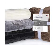 CelinaTex Alaska Kuscheldecke 150 x 200 cm Natur Polar Fleece Sofadecke Felloptik Tagesdecke Fellimitat Wohndecke