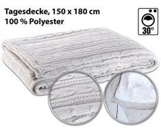 Wilson Gabor Decken: Tagesdecke im Strick-Zopf-Design mit Webpelz-Unterseite, 180 x 150 cm (Microfaser Decke)