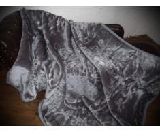 XXL Luxus Kuscheldecke Tagesdecke Decke grau / anthrazit 200x240cm