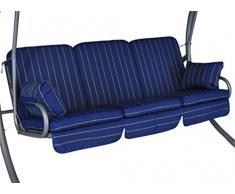 Angerer Comfort Schaukelauflage 3-Sitzig Design Faro, blau, 180 x 50 x 60 cm, 785/025