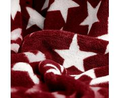 CelinaTex Moonlight Kuscheldecke XXL 200 x 220 cm Bordeaux Coral Fleece Tagesdecke Mikrofaser Sofadecke Sterne Decke