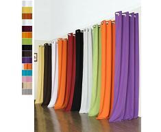 Vorhang Blickdicht Schal mit Ösen aus Microsatin, matt, 245x140, Creme