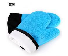 Jonhen Hitzebeständige Silikon Ofenhandschuhe Anti-Rutsch mit Baumwoll-Fütterung zum Backen in der Küche - Ofenhandschuhe 1 Paar,Gratis Bürste & Topflappen (Blau)