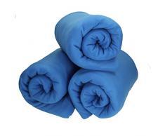 Betz 3 Stück Fleecedecke Kuscheldecke Wohndecke in Größe 130x170 cm Qualität 220 g/m Farbe blau