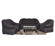 Stretch 2 Sitzer Bezug, 2 Sitzer Husse aus Baumwolle & Polyester. Sehr elastische Sofaueberwurf in anthrazit / dunkelgrau. Sofabezug Hussen Sofahusse Stretch Husse / Stretch Hussen / Sofahusse 2-Sitzer / Sofabezug 2 Sitzer