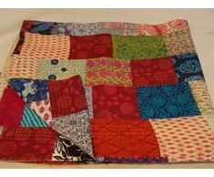 Tribal Asian Textiles Kantha Decke/Überwurf, handgefertigt, mehrfarbig/Patchwork-Muster, 229 x 274 cm, Kingsize, 1111