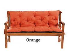 MH Gartenbankauflage Bankauflage Bankkissen Sitzkissen 120 x 60 x 50 cm Polsterauflage Sitzpolster (Orange)