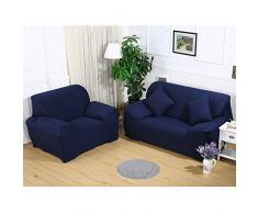 Sofa Überwürfe Sofabezug stretch elastische Sofahusse Sofa Abdeckung in verschiedene Größe und Farbe (2 Sitzer für Sofalänge 140-185cm, Dunkelblau)