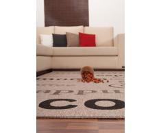 Lalee 347180363 Teppich / Sisal Optik / Flach / Küche / Muster : Kaffee Bistro / Silber / Grösse : 120 x 170 cm