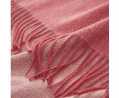 URBANARA Kaschmirdecke Sontra - 100% reine Kaschmir-Wolle-Mischung, Koralle/Elfenbein, meliert, wendbar – 140 x 200 cm, Wolldecke, Kuscheldecke, warme Decke, Sofadecke