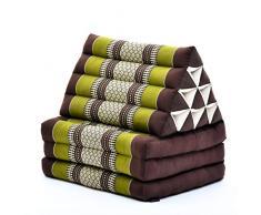 Leewadee Thai-Kissen Falt-Matratze Chill-Out Klapp-Matte Gepolsterte Lesestütze Boden-Liege-Matte mit Dreieck-Kissen Thai-Matte, 170x53x30 cm, Kapok, braun grün