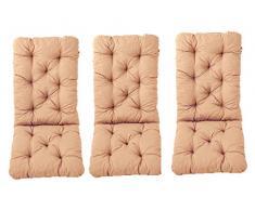 Ambientehome 3er Set Hochlehner Auflage Kissen Hanko Maxi, beige, ca 120 x 50 x 8 cm, Rückenteil ca 70 cm, Polsterauflage