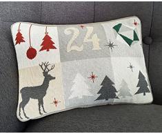 Sander Weihnachten Kissen Gobelin Calendar 23x33 cm grau