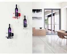 Weinregal Weinflaschenhalter Hängeregal für Wein Glashalter Regal Bar Set schwarz Küchenregal Glasregal