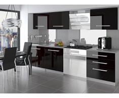 naka24 NEU Komplette Küche KOMPAKTO II 180 cm Hochglanz Verschiedene Farbkombinationen (Schwarz)