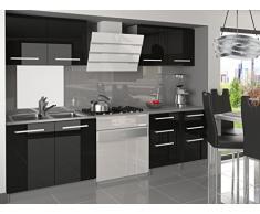 naka24 NEU Komplette Küche KOMPAKTO I 160 cm Hochglanz Verschiedene Farbkombinationen (Schwarz)