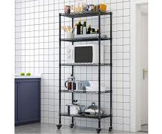 LENTIA Küchenregal stabil Lagerregal Standregal 5 Regalböden Metallregal Regal für küche Haushaltsregal mit Rollen Schwarz 157 * 35 * 75cm bis zu 30 kg pro Regalboden