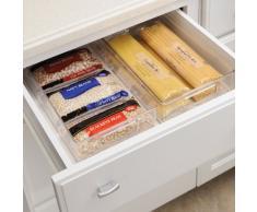 iDesign Aufbewahrungsbox für die Küche, langer Küchen Organizer aus Kunststoff, offene Kühlschrankbox mit Griffen, durchsichtig