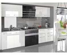 NEU Komplette Küche KOMPAKTO I 160 cm Hochglanz verschiedene Farbkombinationen (Weiss)