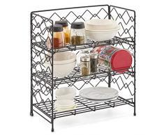 EZOWare 3 Etagen Breit Gewürzregal Küchenregal, Organisation und Lagerung an Arbeitsplatte in der Küche Badezimmer Büro Dosen Gewürzdosen Tassen - Schwarz