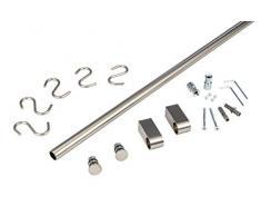 Gedotec Design Küchenreling Edelstahl Relingsystem Küche | Edelstahl-Optik | Reling-Set Länge 900 mm | Reling-System mit 5 S-Haken mit Befestigungsmaterial | 1 Komplett-Set - Küchenleiste aus Metall