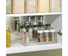iDesign Küchenregal mit 4 Ebenen, großes Gewürzregal aus Kunststoff, Schrank Organizer für Gewürze, Vorratsdosen und weiteres Küchenzubehör, durchsichtig