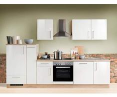 expendio Küchenzeile Unico 300 cm Weiss Hochglanz mit Geschirrspüler E-Geräte Küchenblock Einbauküche Komplett-Küche Dekor Sonoma Eiche