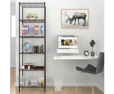 Homdox Standregale 6 Ablage Küchenregal Metallregal mit Seitenhaken aus verchromt 54 x 29 x 160cm, Schwarz (Schwarz, 6 Ablage)