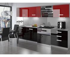 naka24 NEU Komplette Küche Infiniti II 180 cm Hochglanz Verschiedene Farbkombinationen (Schwarz-Rot)