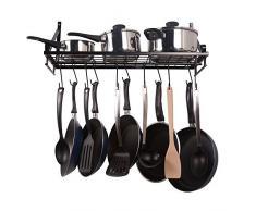 ZPOKA Küchenregal, Küchenwand Topf-Rack, mit 10 Haken, schwarz